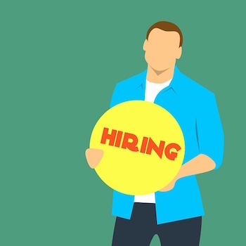 hiring manager holding sign graphic